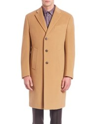 Armani Collezioni Long Sleeve Wool Cashmere Coat Cappuccino