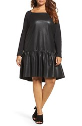 Elvi Plus Size Women's Drop Waist Faux Leather And Knit Dress Black