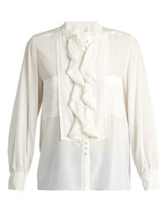 Chloe Ruffled Placket Silk Crepe De Chine Blouse Cream
