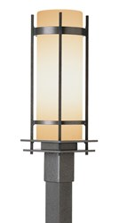 Hubbardton Forge Banded Outdoor Post Light Incandescent Natural Iron Opal Gray