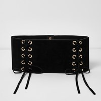 River Island Black Wide Double Lace Up Belt