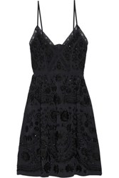 Needle And Thread Lace Trimmed Embellished Embroidered Crepe De Chine Mini Dress Midnight Blue