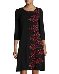 Ming Wang 3 4 Sleeve Embroidered Knit Dress Red Black
