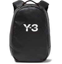 Y 3 Embroidered Logo Print Faux Leather Backpack Black