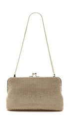 Whiting And Davis Dimple Mesh Clutch Gold