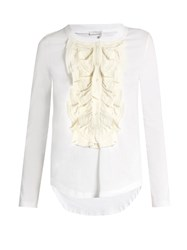 Chloe Long Sleeved Silk Ruffle Trimmed Cotton T Shirt White