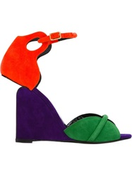 Pierre Hardy Color Block Wedge Sandals Pink And Purple