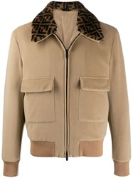 Fendi Logo Collar Bomber Jacket Brown