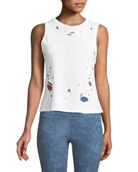 Alo Yoga Harley Distressed Muscle Tank Top White