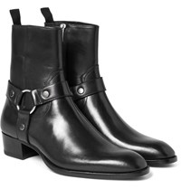 Saint Laurent Leather Harness Boots Black