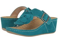 David Tate Spring Teal Suede Clog Mule Shoes Green