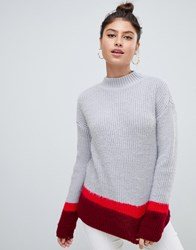 Missguided Colour Block High Neck Jumper In Grey Multi