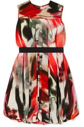 Alexander Mcqueen Cape Effect Printed Silk Blend Dress Red