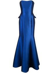 Marchesa Notte Long Strapless Dress Blue