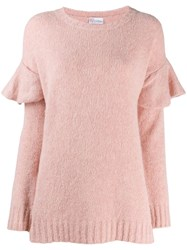 Red Valentino Ruffled Shoulder Jumper Pink