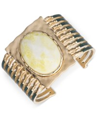 Lonna And Lilly Gold Tone Large Stone Cuff Bracelet