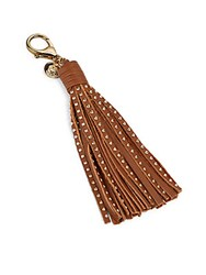Vince Camuto Leather Tasseled Key Fob Brown