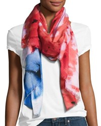 Michael Stars Abstract Tie Dye Flat Scarf Red