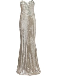 Marchesa Notte Sequin Embellished Gown Metallic