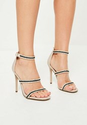 Missguided Nude Braided 3 Strap Barely There Heels