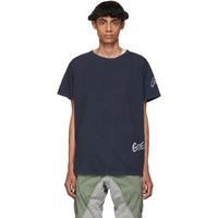 Greg Lauren Navy Deconstructed Logo T Shirt