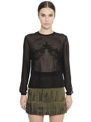 Francesco Scognamiglio Sheer Silk Georgette And Lace Shirt