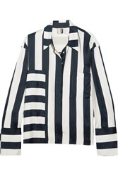 Topshop Unique Hyde Striped Washed Satin Shirt Navy