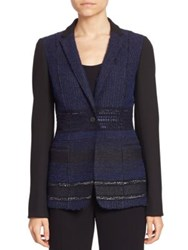 Elie Tahari Dorinda Tweed Blazer Black Navy