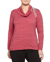 Balance Long Sleeve Cowl Neck Tee Heather Bright Rose