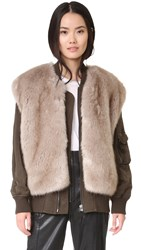 Helmut Lang Detachable Faux Fur Bomber Jacket Olive