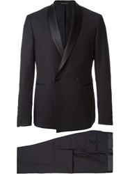 Tagliatore Shawl Lapel Double Breasted Blazer Blue
