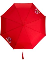 Moschino Teddy Motif Logo Print Umbrella 60
