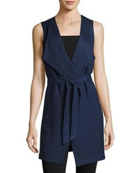 Joan Vass Draped Sleeveless Tie Waist Vest Navy