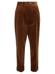 Margaret Howell Turned Up Pleated Corduroy Trousers Brown