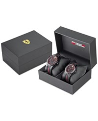 Ferrari Red Rev Black Silicone Watches 38Mm And 44Mm Gift Set