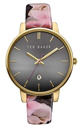 Ted Baker Women's London Leather Strap Watch 40Mm Black Floral Grey