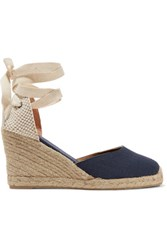 Soludos Lace Up Canvas Wedge Espadrilles Dark Denim