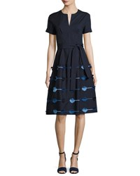 Lela Rose Belted A Line Dress With Embroidered Skirt Navy