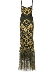 Marchesa Notte Embroidered Corset Gown Black