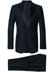 Dolce And Gabbana Satin Trim Dinner Suit Blue