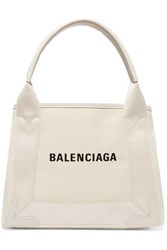Balenciaga Cabas Xs Aj Leather Trimmed Printed Canvas Tote Beige