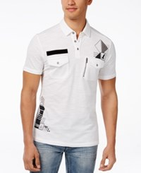Inc International Concepts Men's Signs Graphic Print Pocket Polo Only At Macy's White Pure