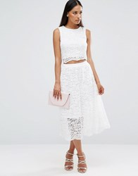 Ax Paris Sleeveless Lace Midi Dress With Cut Out Middle Cream