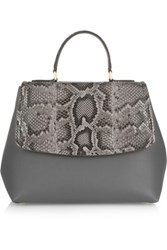 Dolce And Gabbana Margarita Python Leather Tote Gray