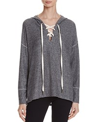 Project Social T Cross My Heart Lace Up Hoodie Heather Grey