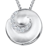 Jools By Jenny Brown Cubic Zirconia Swirl Pendant Necklace Silver