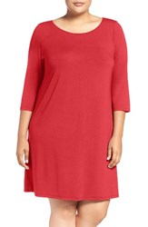 Eileen Fisher Plus Size Women's Ballet Neck Jersey Dress Red Brick