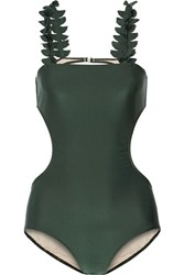 Adriana Degreas Gincko Leaves Cutout Swimsuit Dark Green