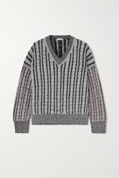 Loewe Cable Knit Wool Sweater Gray