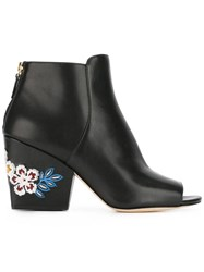 Tory Burch Embroidered Flower Boots Black